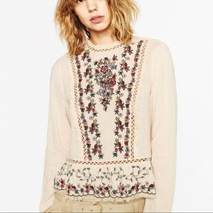 Zara Embroidered Frilled Top Small